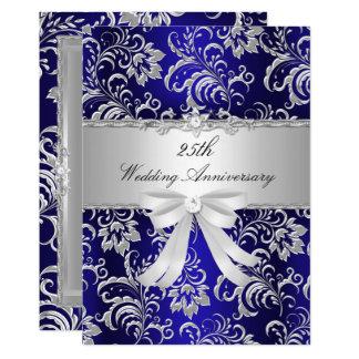 Blaue Blumen u. beugen 25. Hochzeitstag einladen Karte