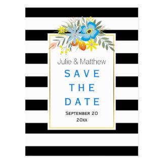 Blaue Blumen u. Streifen, die Save the Date Postkarte