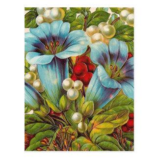 """""""Blaue Blumen"""" Vintage Blumen Postkarte"""