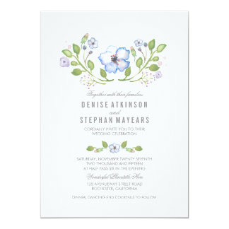 Blaue BlumenAquarell-Hochzeits-Einladungen 12,7 X 17,8 Cm Einladungskarte