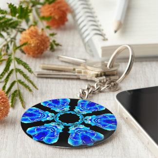 Blaue Blumenblätter Schlüsselanhänger
