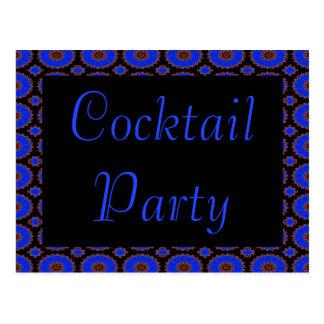 blaue Blumeneinladung des Cocktail-Party Postkarte