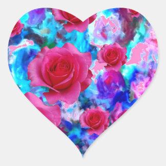 BLAUE BLUMENgeschenke der FANTASTISCHEN ROSA ROSEN Herz-Aufkleber