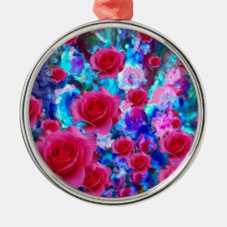 BLAUE BLUMENgeschenke der FANTASTISCHEN ROSA ROSEN Rundes Silberfarbenes Ornament