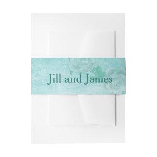 Blaue Blumenhochzeit Einladungsbanderole