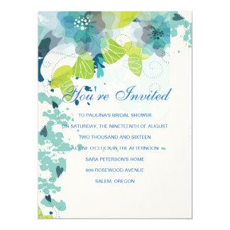 Blaue Blumenkaskadiereneinladung 16,5 X 22,2 Cm Einladungskarte