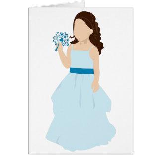 blaue Blumenmädchenkarte Karte
