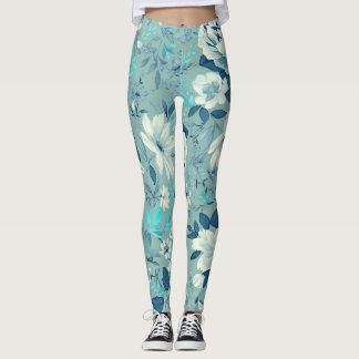 Blaue Blumenmuster-Yoga-/Trainings-Gamaschen Leggings