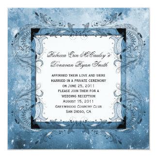 Blaue BlumenSchmutz-Posten-Hochzeits-Feier Quadratische 13,3 Cm Einladungskarte