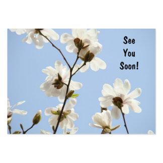 Blaue Blumenverabredung kardiert Magnolien-Blumen Visitenkartenvorlagen