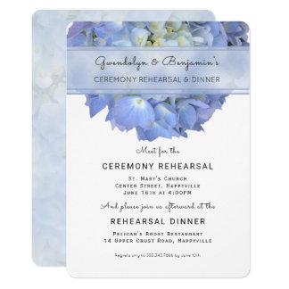 Blaue Blumenzeremonie-Proben-Abendessen-Einladung 12,7 X 17,8 Cm Einladungskarte