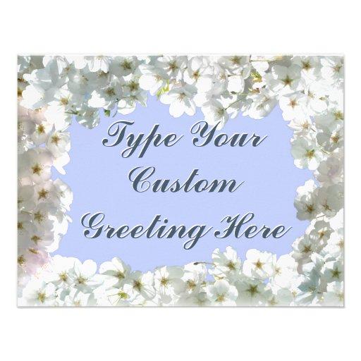 Blaue Blüten-Einladungen personalisierte UAWG