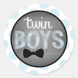 Blaue Bogen-Krawatte Punkt-Babyparty Runder Aufkleber