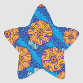 Blaue Boho Blüten Stern Aufkleber
