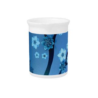 Blaue Bokah Blüten-Niederlassungen Krug