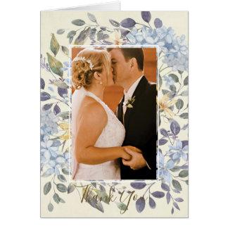 blaue botanische mit Blumenhochzeit danken Ihnen Karte