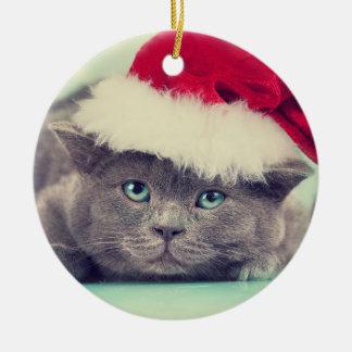 Blaue britische Katze Schnurren-fect Ferienzeit Keramik Ornament