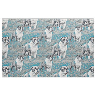 Blaue Bulldoggen-nahtloses Gewebe-Muster Stoff