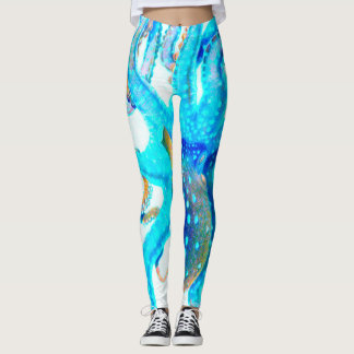 Blaue bunte Krake Leggings