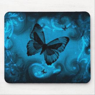 blaue bunte Schmetterlingsvektorkunst Mousepad