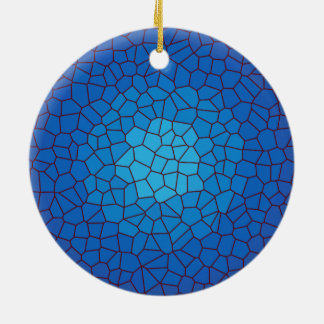 Blaue Buntglas-Entwurf >Xmas Verzierung Keramik Ornament