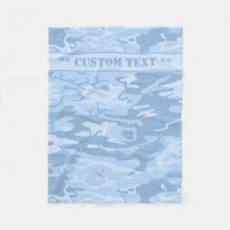 Blaue Camouflage mit kundenspezifischem Text Fleecedecke