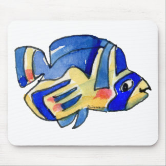 Blaue Cartoon-Schmetterlings-Fische Mousepad