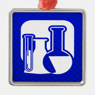 Blaue Chemie Quadratisches Silberfarbenes Ornament