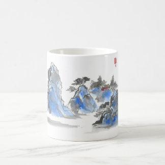 Blaue chinesische GebirgslandschaftsTasse Tassen