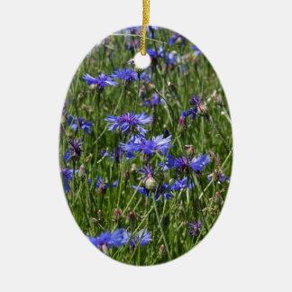 Blaue Cornflowers auf einem Gebiet Ovales Keramik Ornament