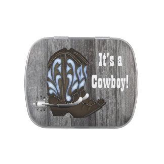 Blaue Cowboystiefel-Babyparty-Süßigkeit Jelly Belly Dosen