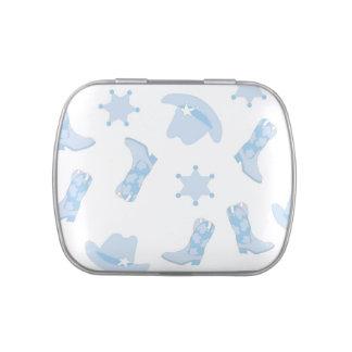 Blaue Cowboystiefel-Babyparty-Süßigkeit Vorratsdose