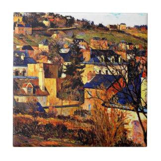 Blaue Dächer von Rouen, Paul Gauguinmalen Kleine Quadratische Fliese