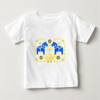 Blaue Dala Pferde Baby T-shirt