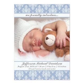 Blaue Damast-Baby-Geburts-Mitteilungen Karte