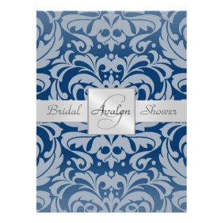 Blaue Damast-Brautparty-Monogramm-Einladung