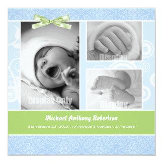 Blaue Damast-Foto-Geburts-Mitteilung Quadratische 13,3 Cm Einladungskarte