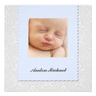 Blaue Damast-Geburts-Mitteilung Individuelle Ankündigskarten