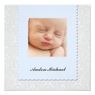Blaue Damast-Geburts-Mitteilung Quadratische 13,3 Cm Einladungskarte