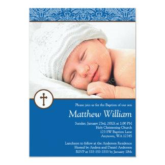 Blaue Damast-Kreuz-Jungen-Foto-Taufe-Taufe 12,7 X 17,8 Cm Einladungskarte