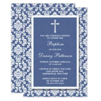 Blaue Damast-Kreuz-Taufe oder Taufe 12,7 X 17,8 Cm Einladungskarte