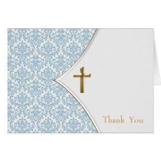 Blaue Damast-Taufe danken Ihnen Karte
