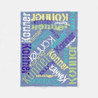 Blaue Decken-Namen-Collage personalisiert Fleecedecke