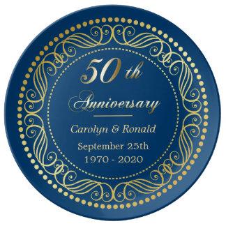 Blaue dekorative Grenzgoldener Jahrestag Porzellanteller