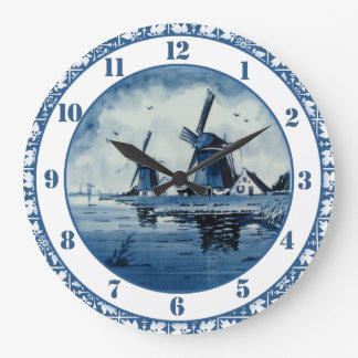 Blaue Delft-Blau-Windmühle Große Wanduhr