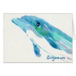 Blaue Delphin-Aquarell-Anmerkungs-Karte