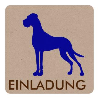 Blaue Deutsche Dogge Quadratische 13,3 Cm Einladungskarte