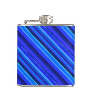 Blaue diagonale Streifen Flachmann