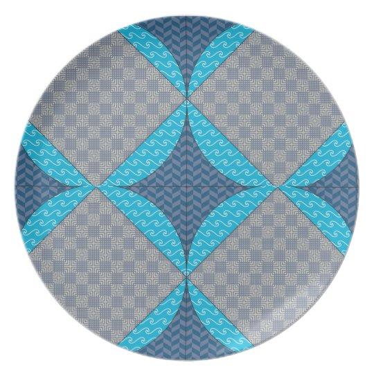 Blaue Diamant-Steppdecken-Muster-Platte Teller
