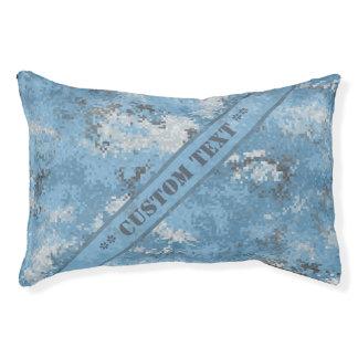 Blaue Digi Camouflage mit kundenspezifischem Text Haustierbett